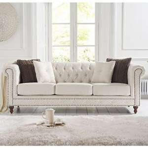 Propus Linen 3 Seater Sofa In Ivory