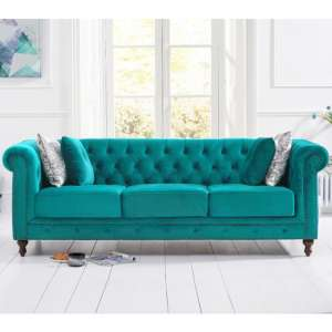 Propus Plush Fabric 3 Seater Sofa In Teal
