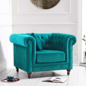Propus Plush Fabric Lounge Chaise Armchair In Teal