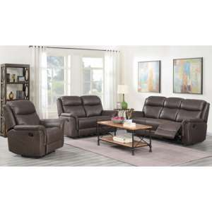 Proxima 3 Seater Sofa And 2 Armchairs Suite In Rustic Brown