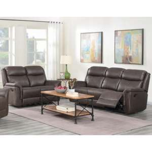 Proxima 3 Seater Sofa And 2 Seater Sofa Suite In Rustic Brown
