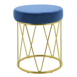Puffy Velvet Stool In Blue With Gold Stainless Steel Base