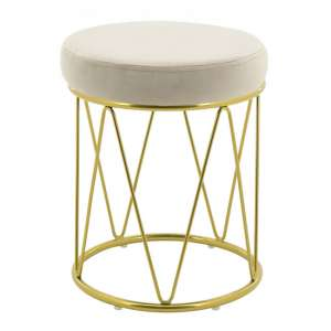 Puffy Velvet Stool In Cream With Gold Stainless Steel Base