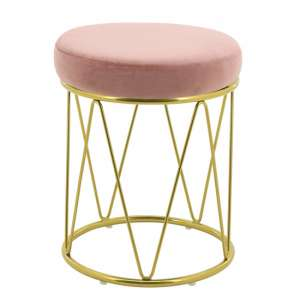 Puffy Velvet Stool In Pink With Gold Stainless Steel Base