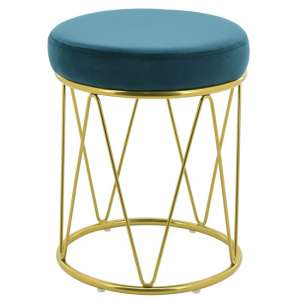 Puffy Velvet Stool In Teal With Gold Stainless Steel Base