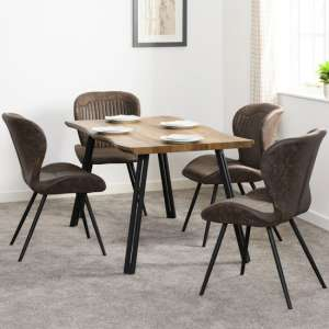 Quebec Wooden Wave Edge Dining Set With 4 Leather Dining Chairs