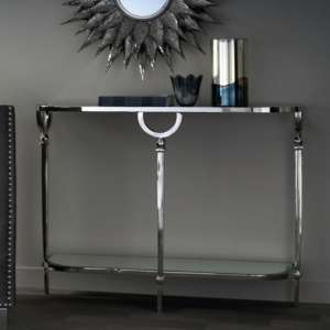 Quinn Mirrored Top Console Table With Nickel Finish Legs