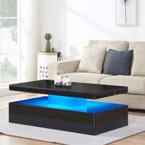Quinton Glass Coffee Table In Black High Gloss With LED