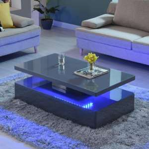 Quinton Glass Coffee Table In Grey High Gloss With LED