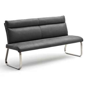 Rabea Fabric Large Dining Bench In Grey With Steel Frame