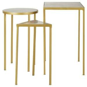 Mekbuda Set Of 3 Nesting Side Tables With Brass Finish Base