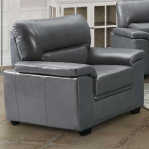 Rachel LeatherGel And PU 1 Seater Sofa In Grey