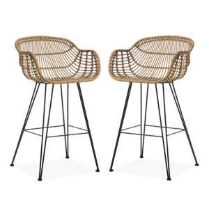 Rafferty Carver Wooden Bar Stool In Pair