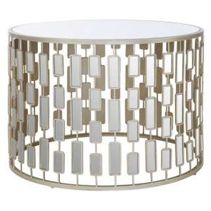 Menkalinan Large Metal Round Table In Silver With Glass Top