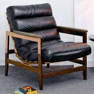 Rainy Faux Leather Leisure Arm Chair In Black