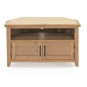 Ramore Corner Wooden TV Stand In Natural With 2 Doors