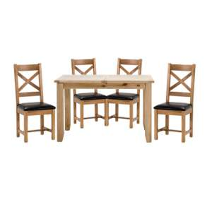 Ramore Fixed Dining Set In Natural With 4 Cross Back Chairs