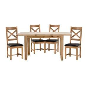 Ramore Large Extending Dining Set With 4 Cross Back Chairs