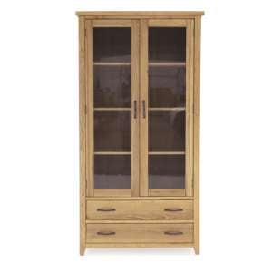 Ramore Wooden Display Cabinet In Natural With 2 Doors 2 Drawers