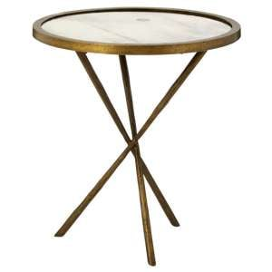 Menkent Small Round Glass Side Table In Brass
