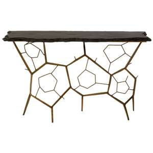 Menkent Stone Top Console Table In Black