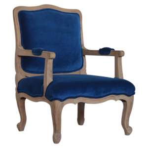 Rarer Velvet French Style Accent Chair In Blue And Sunbleach
