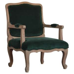 Rarer Velvet French Style Accent Chair In Green And Sunbleach