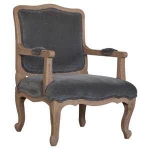 Rarer Velvet French Style Accent Chair In Grey And Sunbleach