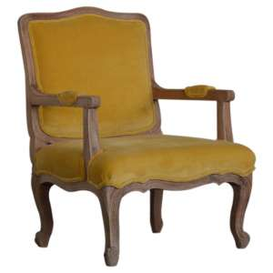 Rarer Velvet French Style Accent Chair In Mustard And Sunbleach