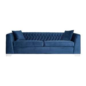 Rashika 3 Seater Velvet Sofa In Dark Blue