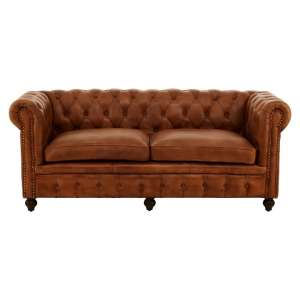 Ratliff Chesterfield Design Leather Three Seater Sofa In Brown