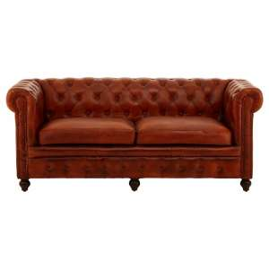 Ratliff Chesterfield Design Leather Three Seater Sofa In Tan