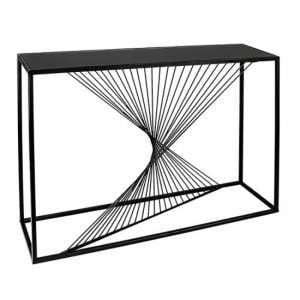 Ray Black Glass Top Console Table With Metal Frame