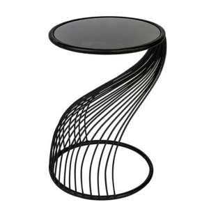 Ray Black Glass Top Side Table With Metal Frame