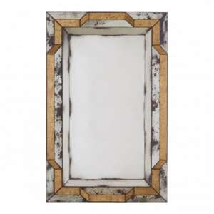 Raze 3D Design Wall Mirror In Antique Silver And Gold Frame