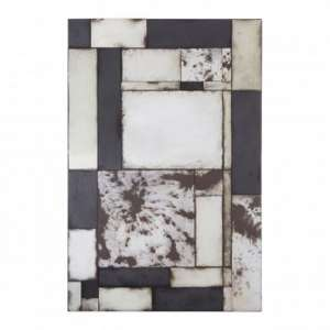 Raze Mosaic Asymmetric Wall Mirror In Antique Black Frame