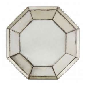 Raze 3D Octagonal Wall Bedroom Mirror In Antique Silver Frame