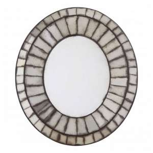 Raze Oval 3D Mosaic Wall Bedroom Mirror In Antique Silver Frame