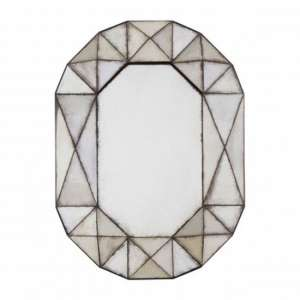 Raze Oval Geometric Wall Bedroom Mirror In Antique Silver Frame