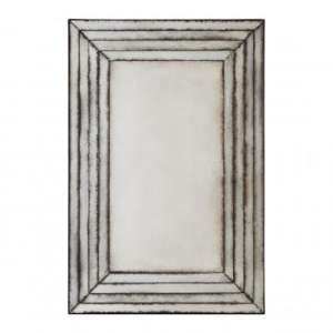 Raze Rectangular Layered Wall Mirror In Antique Silver Frame