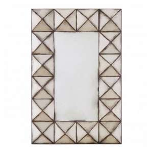 Raze Rectangular Pyramid Wall Mirror In Antique Silver Frame