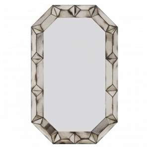 Raze Rectangular 3D Wall Mirror In Antique Silver Frame