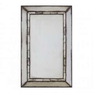 Raze Rectangular Tiled Wall Mirror In Antique Silver Frame