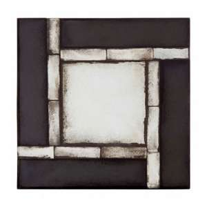 Raze Square Tiled Design Wall Mirror In Antique Black Frame