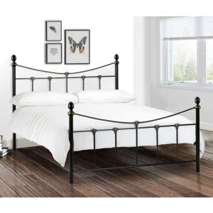 Rebecca Metal King Size Bed In Satin Black And Antique Gold