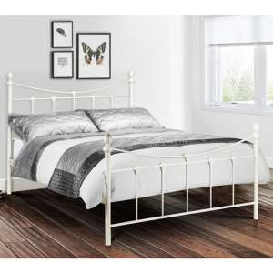 Rebecca Metal King Size Bed In Stone White