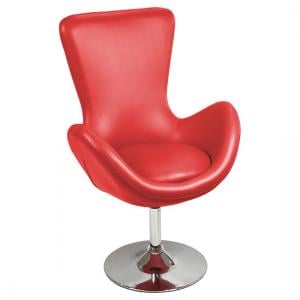 Destiny Modern Rotating Bucket Chair in Red Faux Leather