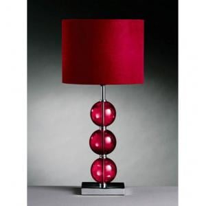 Miscona Red Fabric Shade Table Lamp With Chrome Base