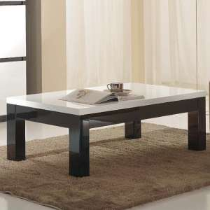 Regal Coffee Table In Black And White With High Gloss Lacquer