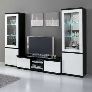 Regal Living Room Set In Black And White With High Gloss LED